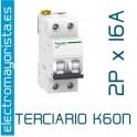 Magnetotérmico 2P 16 A (Terciario) SCHNEIDER K60N