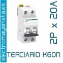 Magnetotérmico 2P 20 A (Terciario) SCHNEIDER K60N