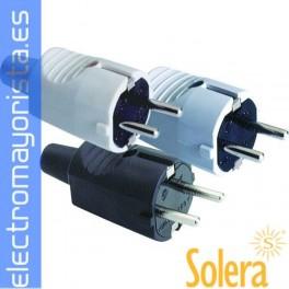 CLAVIJA TOMA DE TIERRA LATERAL 10/16A 250V PVC GOMA B