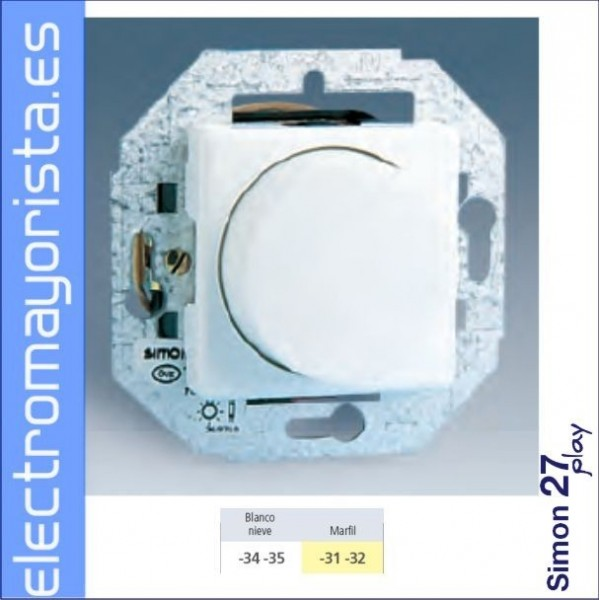 interruptor conmutador regulador luz simon play blanco nieve