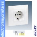BASE ENCHUFE SHUCKO PLACA INCORP.SIMON 27 BLANCO NIEVE