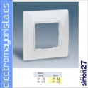 PLACA MONOBLOC 85x85mm SIMON 27 BLANCO NIEVE