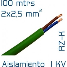 Cable cobre 2 x 2 5 mm2 rz1 k sin hal genos 100 mtrs for Cable libre de halogenos 25mm