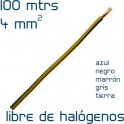 Cable Eléctrico Libre de halógenos 4 mm2 (100 metros- Seleccionar Color)