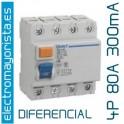 Interruptor diferencial 4 x 80 300 mA AC
